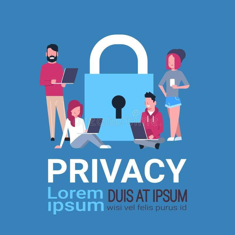 在挂锁数据保护保密性概念的人膝上型计算机 GDPR 网络安全网络背景 保护个人 向量例证