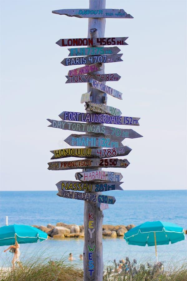 在指向地方的基韦斯特岛的路标环球 免版税图库摄影