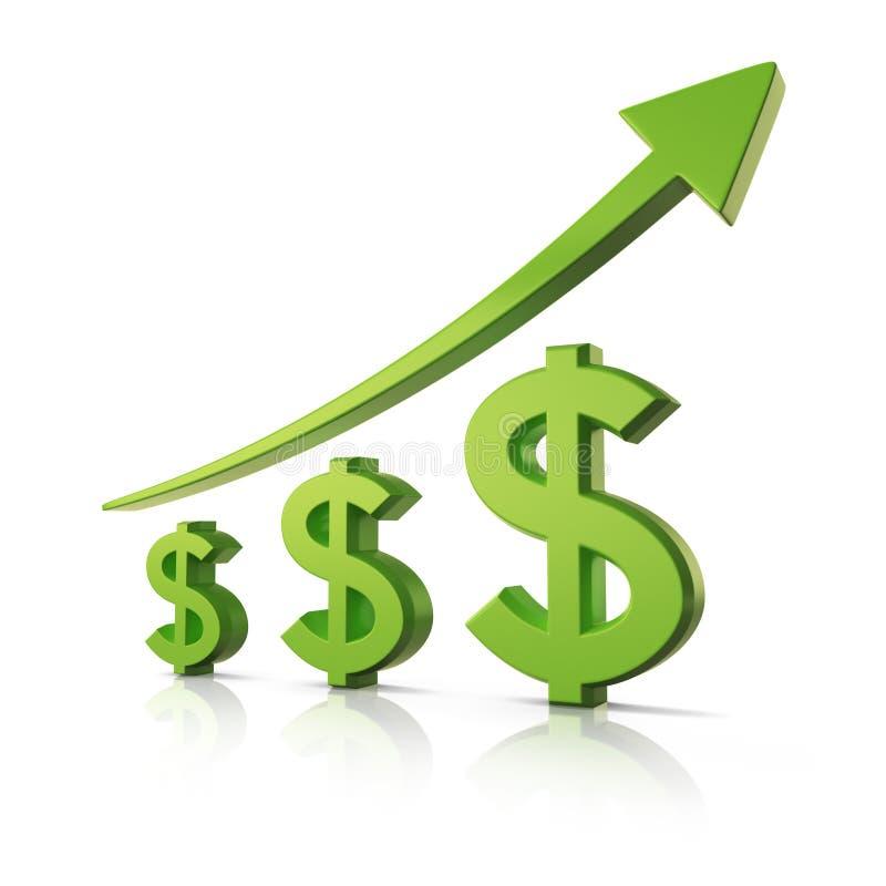 在指向箭头企业买卖人概念巨型的增长附近 美元的符号 库存例证