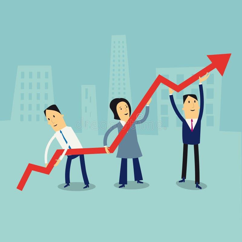 在指向箭头企业买卖人概念巨型的增长附近 库存例证