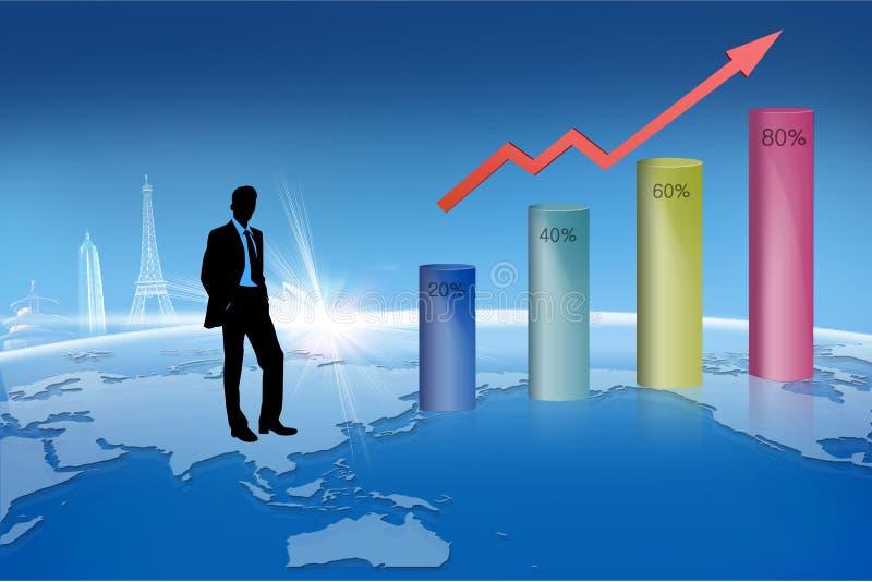 在指向箭头企业买卖人概念巨型的增长附近 向量例证