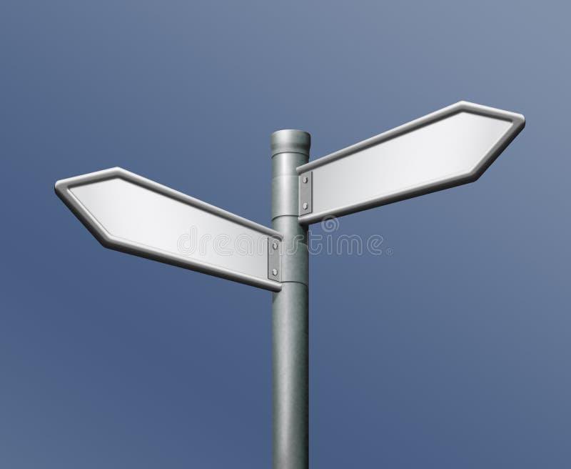 在指向路标对面的箭头空白方向 向量例证