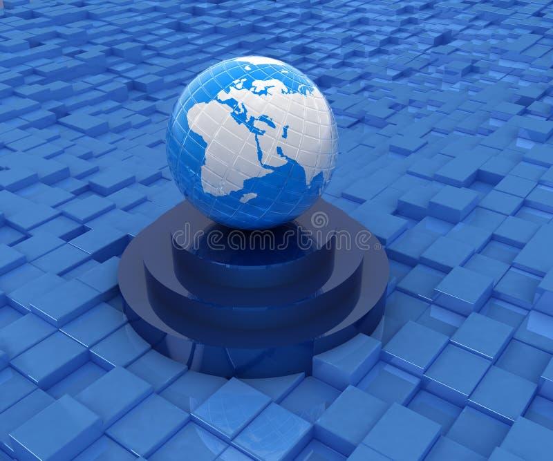 在指挥台的地球反对抽象都市背景 向量例证