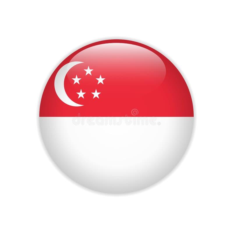在按钮上的新加坡旗子 皇族释放例证