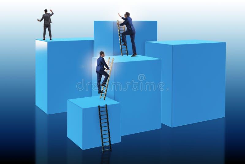 在挑战企业概念的商人上升的块 库存例证