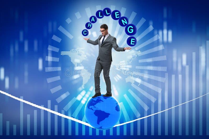 在挑战概念的商人走的紧的生产纪录 库存例证