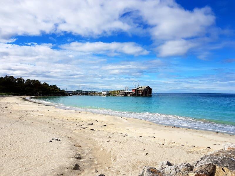 在挪威的北部的海滩 免版税图库摄影