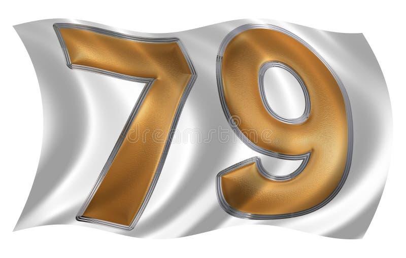 在振翼的风与数字79的旗子,七十九, i 库存例证