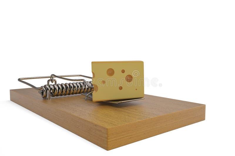 在捕鼠器的乳酪 3d例证 库存例证