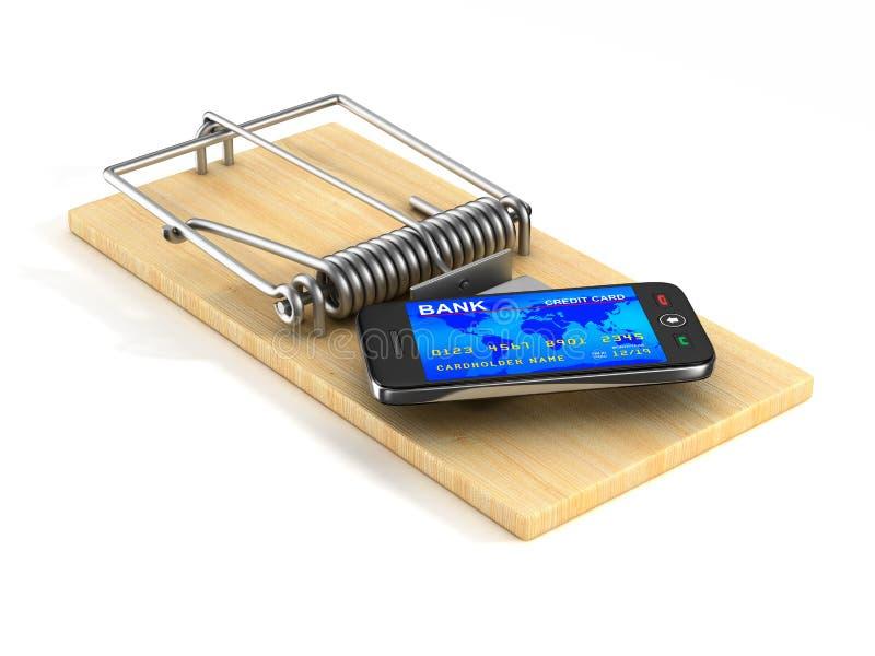 在捕鼠器的电话 查出的3D 皇族释放例证