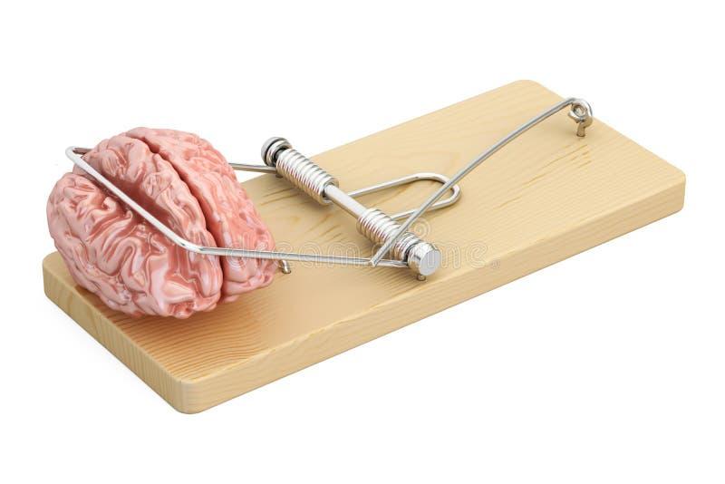 在捕鼠器, 3D的脑子翻译 库存例证