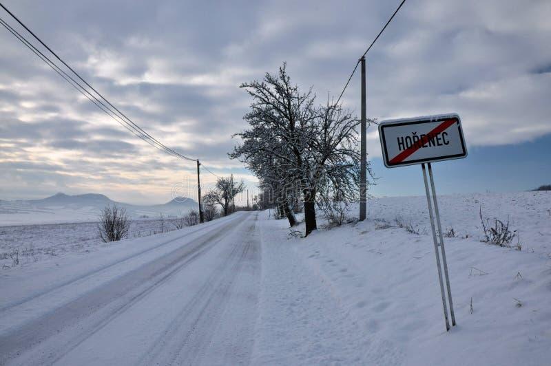 在捷克中间山的冬天 库存照片