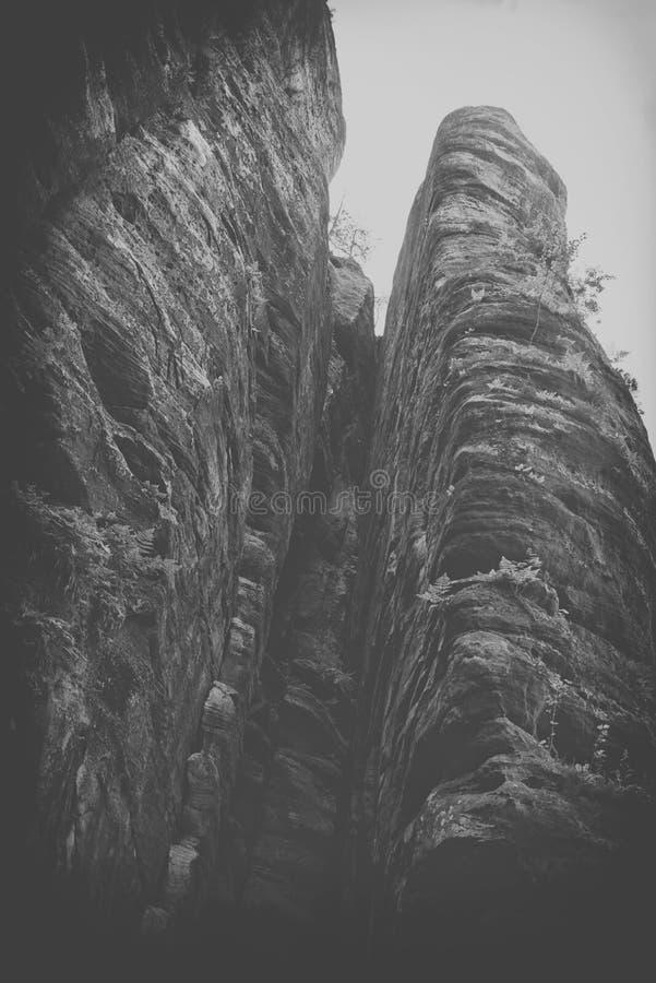 在捷克晃动镇, Adrspach特普利采国家公园,黑白 免版税库存图片