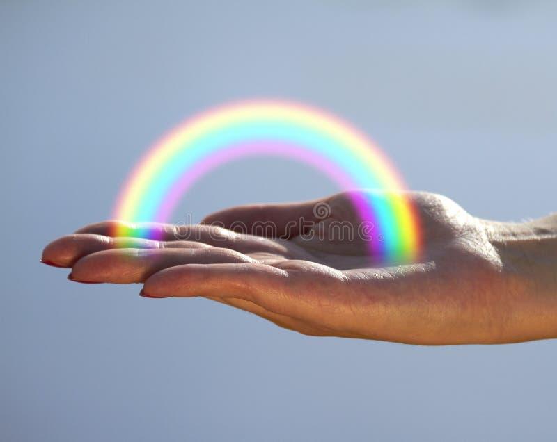 在掌上型计算机的彩虹 库存图片