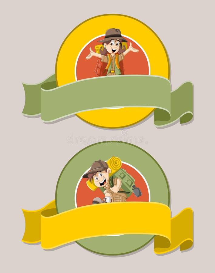 在探险家成套装备的动画片孩子 库存例证