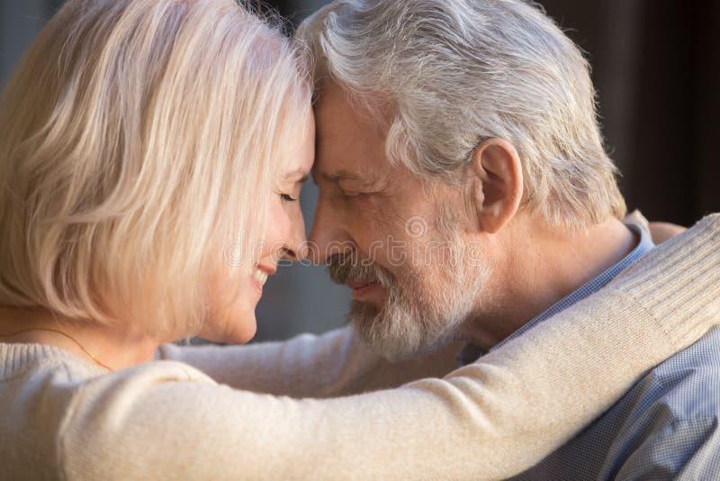 在接触前额的爱、妻子和丈夫的浪漫成熟夫妇 免版税库存图片