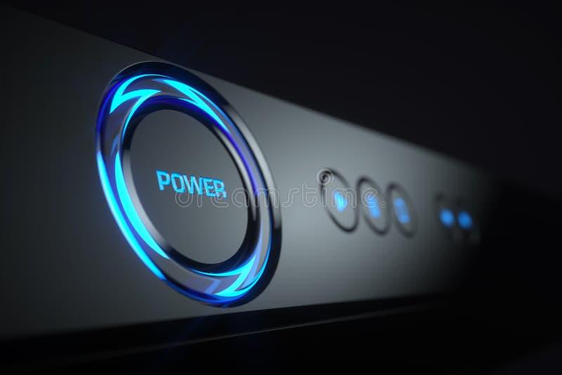 在控制板青光芒球员的力量按钮 库存例证