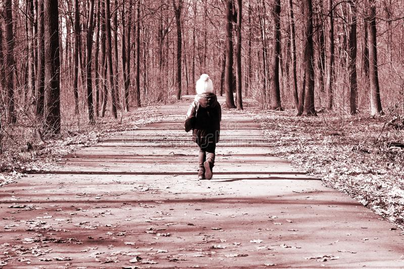 在描述路的减速火箭的样式的照片连续孩子在春天森林里 免版税图库摄影