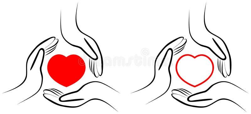 在握手的红色心脏标志 库存例证