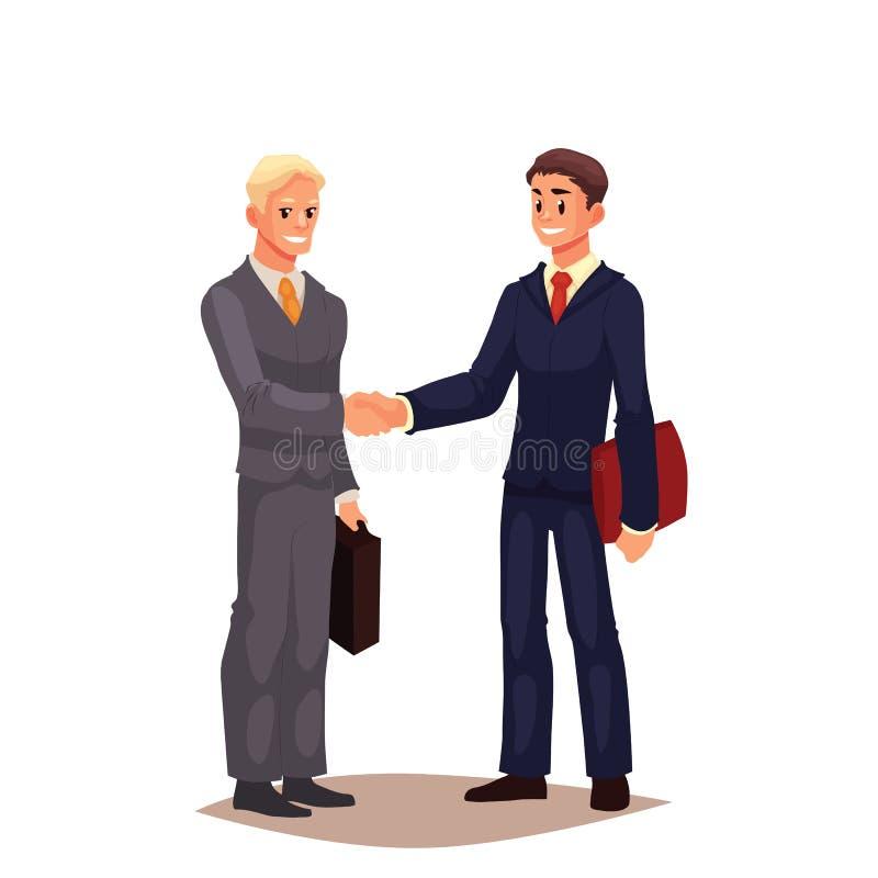 在握手的衣服的两个商人 向量例证