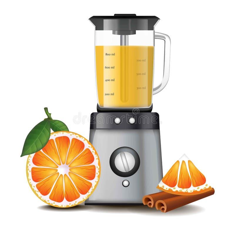在搅拌器搅拌器现实传染媒介的橙汁 库存例证