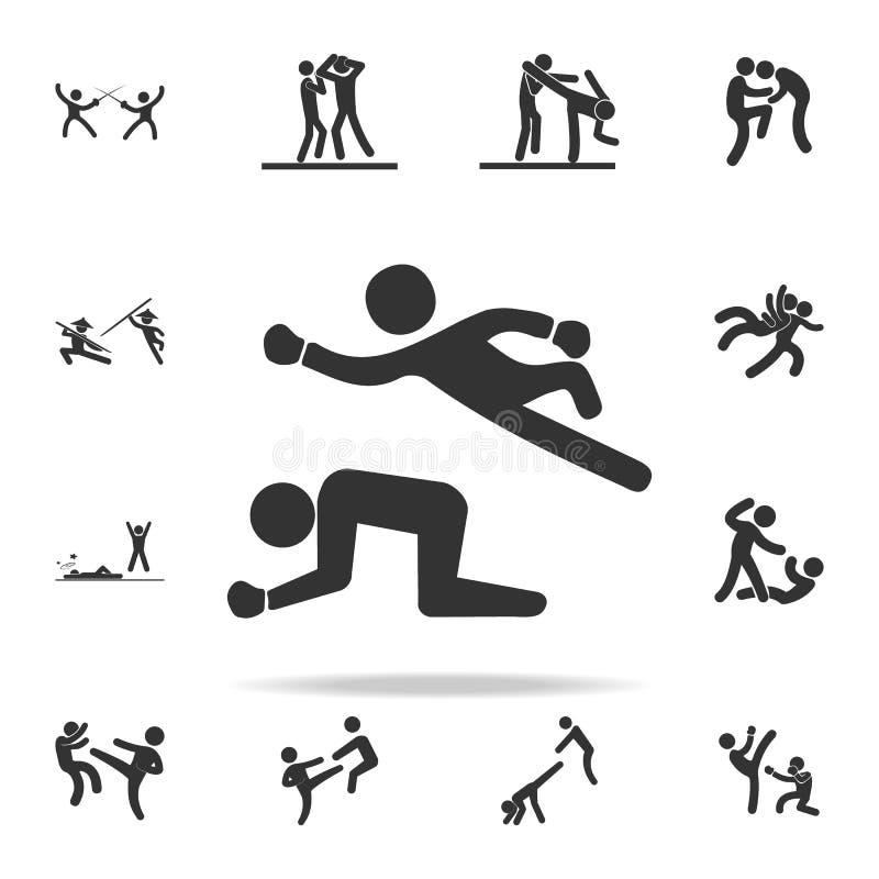 在搏斗的象的战斗 套Cfight和争吵的元素象 优质质量图形设计 标志和标志汇集集成电路 库存例证