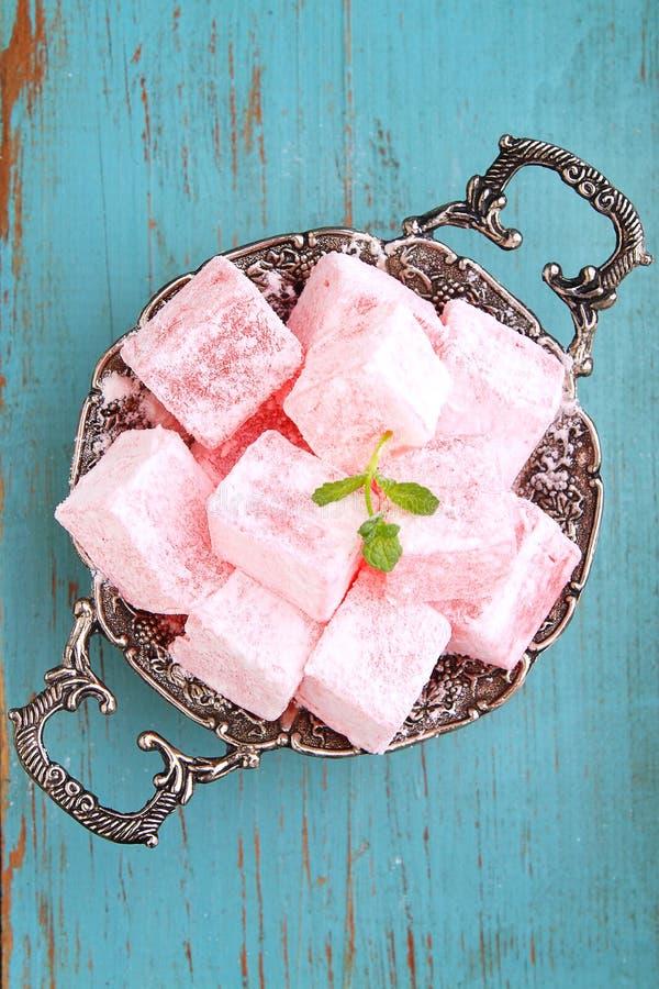 在搽粉的糖的Lukum 免版税图库摄影