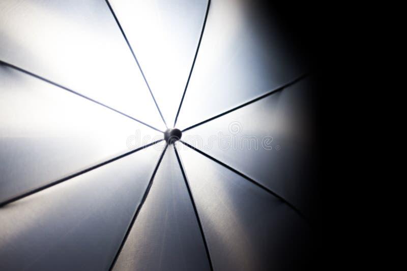 在摄影白色伞闪电的异常的看法, photoshooting 免版税图库摄影