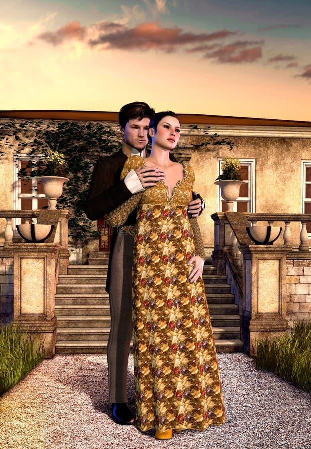 在摄政村庄前面的年轻爱恋的维多利亚女王时代的夫妇 向量例证