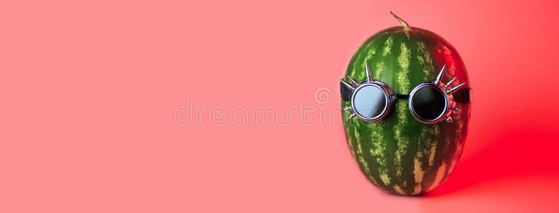 在摇摆物玻璃的一个西瓜废物在桃红色背景 免版税库存图片