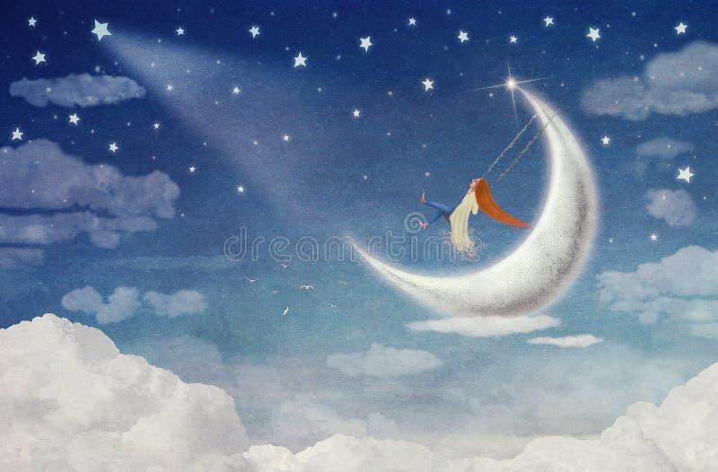 在摇摆的神仙的骑马在月亮 库存例证