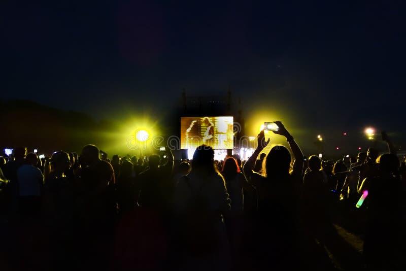 在摇滚乐音乐会的人群 库存照片