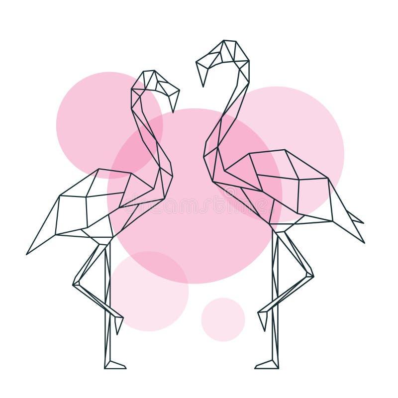 在摘要几何样式的美好的火鸟例证在圈子背景的 库存例证