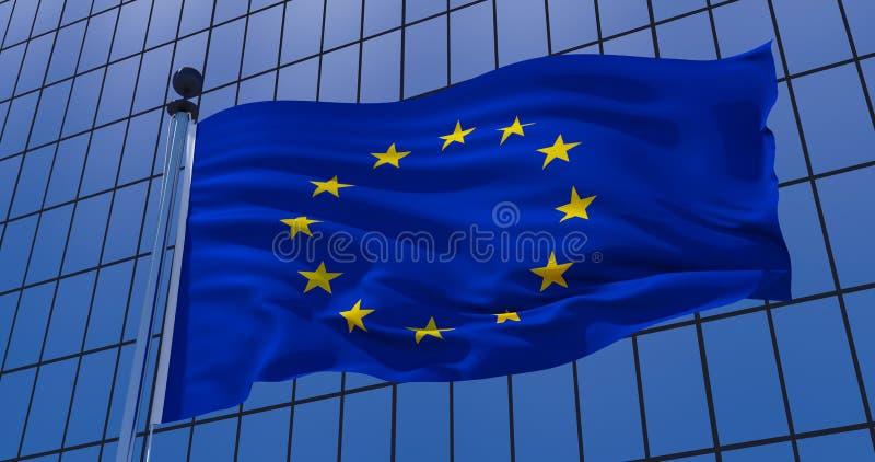在摩天大楼大厦背景的欧盟旗子 3d例证 皇族释放例证