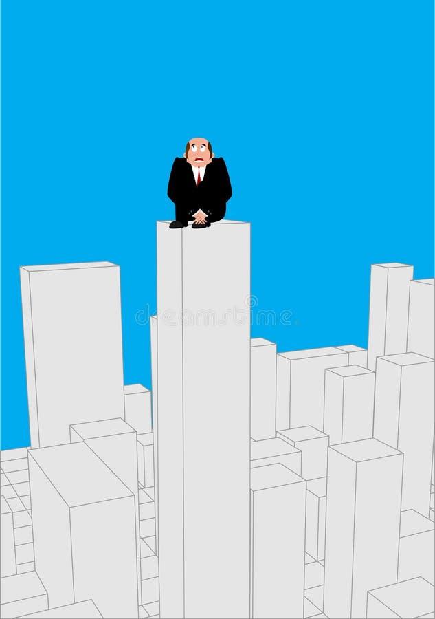在摩天大楼惊吓的商人 roo的害怕商人 皇族释放例证