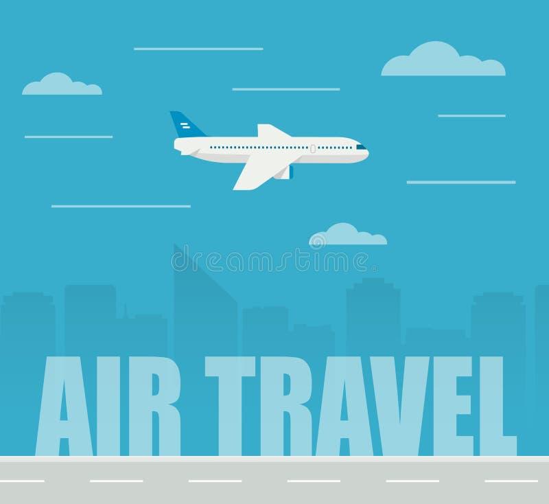 在摩天大楼背景的平的设计例证飞机飞行 在航空波音云彩旅行翼之上 向量例证