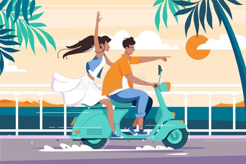 在摩托车的平的男人和妇女夫妇骑马在夏天海附近 库存例证