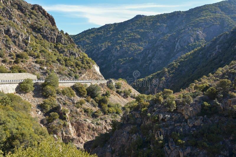 在撒丁岛的海岛上的山路 免版税库存照片