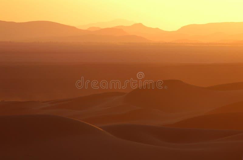 在撒哈拉大沙漠日落的沙漠 免版税库存照片