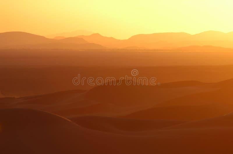 在撒哈拉大沙漠日落的沙漠 免版税库存图片