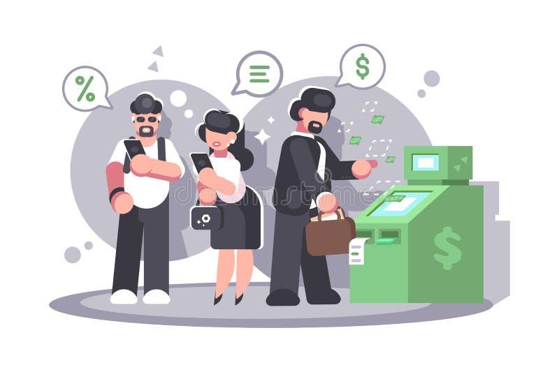 在撤出从卡片的ATM的队列金钱 库存例证