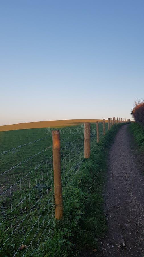 在操刀沿苏克塞斯的Southdowns开放牧场地的导线旁边的道路 库存照片