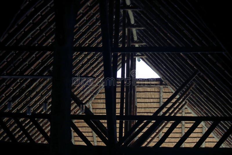在支持一个茅屋顶的捆的柔光 免版税图库摄影