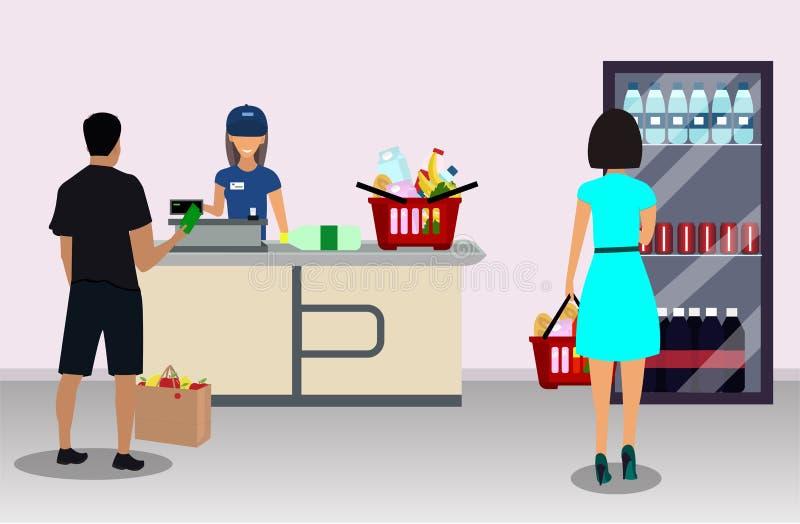 在收款机和买家的超级市场出纳员 皇族释放例证