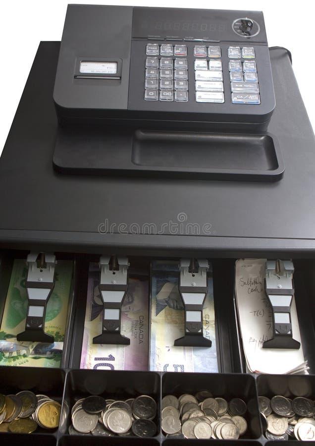 在收款机的加拿大货币 库存图片