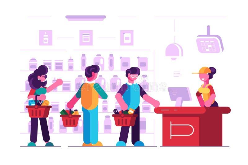 在收银处的出纳员在超级市场 皇族释放例证