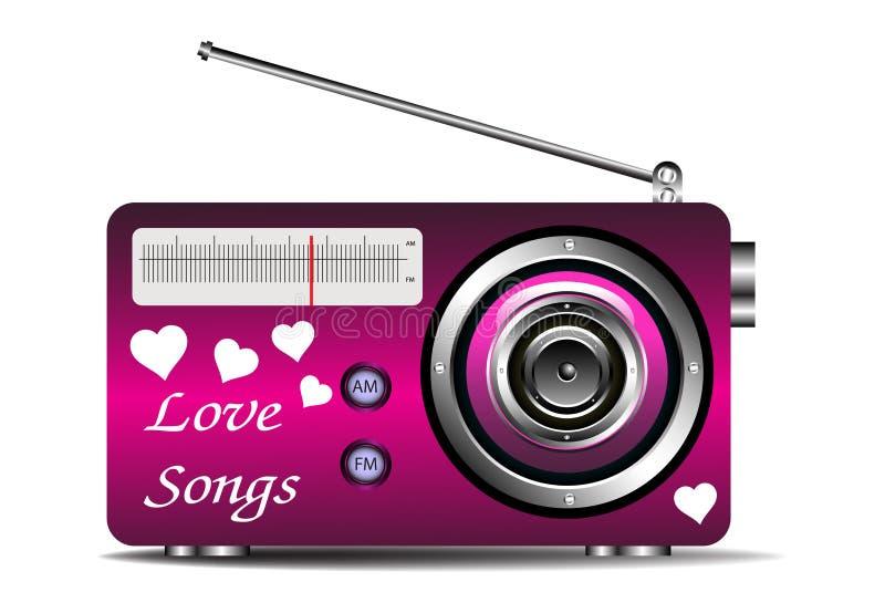 在收音机的爱情歌曲 库存例证