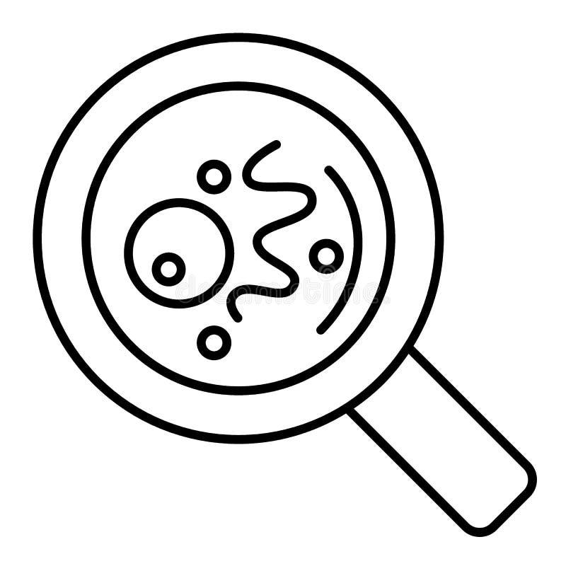 在放大器象下的微生物变薄线平的设计 传染媒介在白色背景的深黑色象 概述设计 向量例证