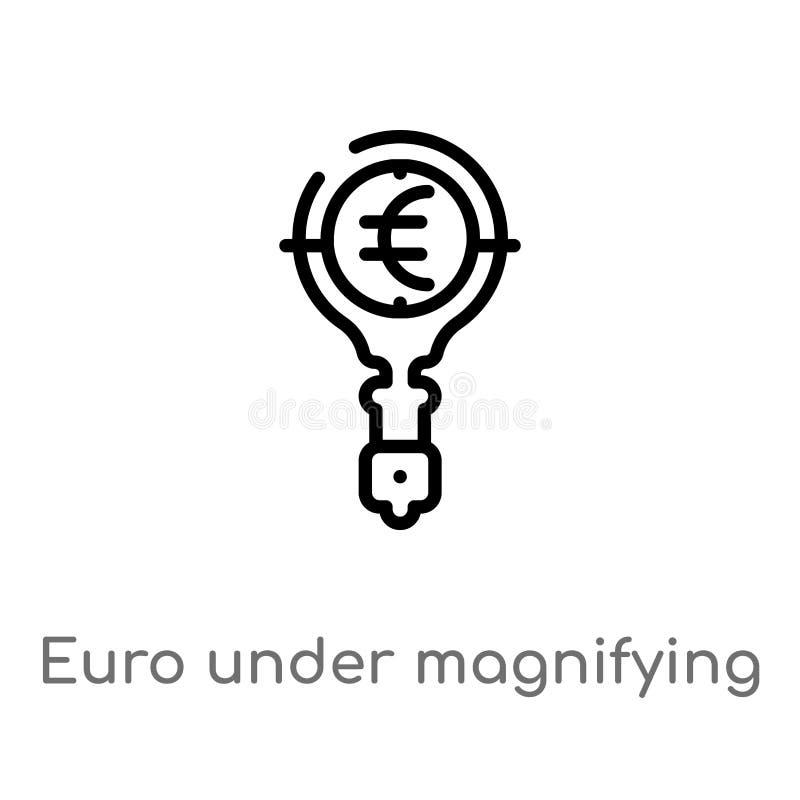 在放大镜查寻传染媒介象下的概述欧元 E 库存例证