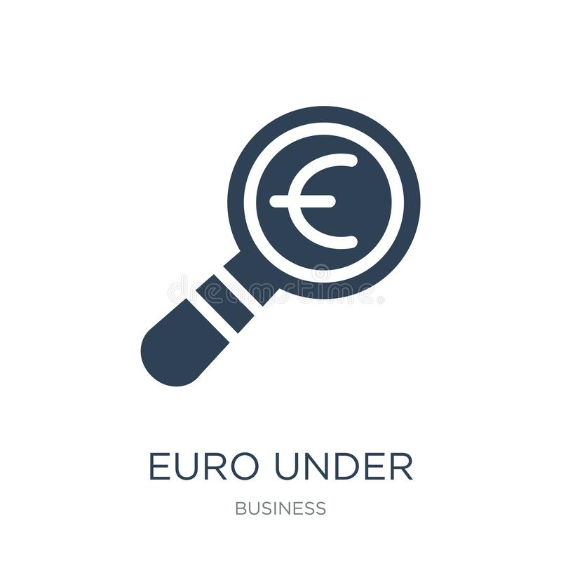 在放大镜查寻象下的欧元在时髦设计样式 在放大镜在白色隔绝的查寻象下的欧元 皇族释放例证